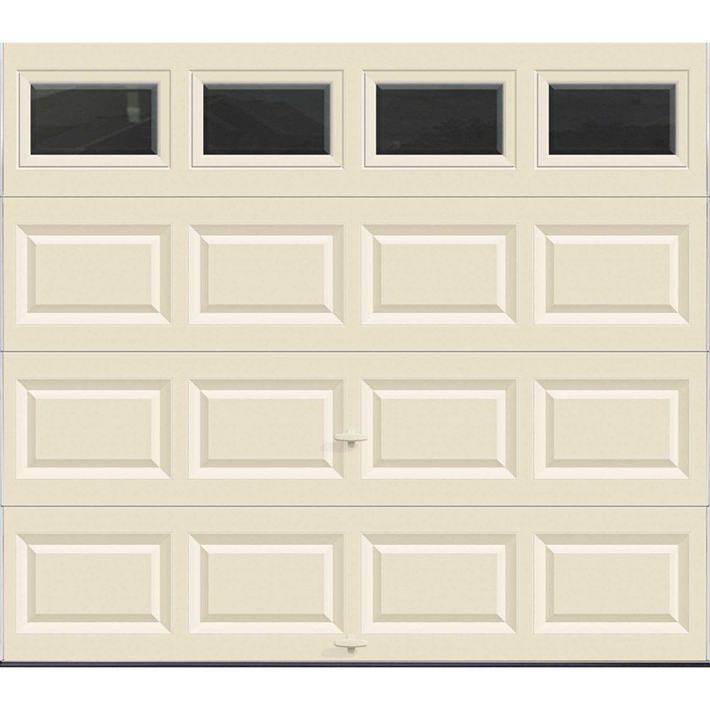 Porte de garage Série Valeur 8pi x 7pi non-isolée Amande avec fenêtres unies