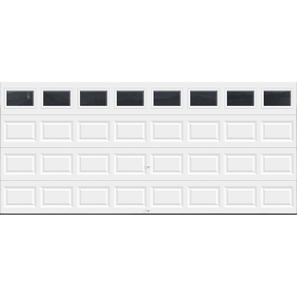 Value Series 16 ft. x 7 ft. Non-Insulated White Garage Door with Plain Windows