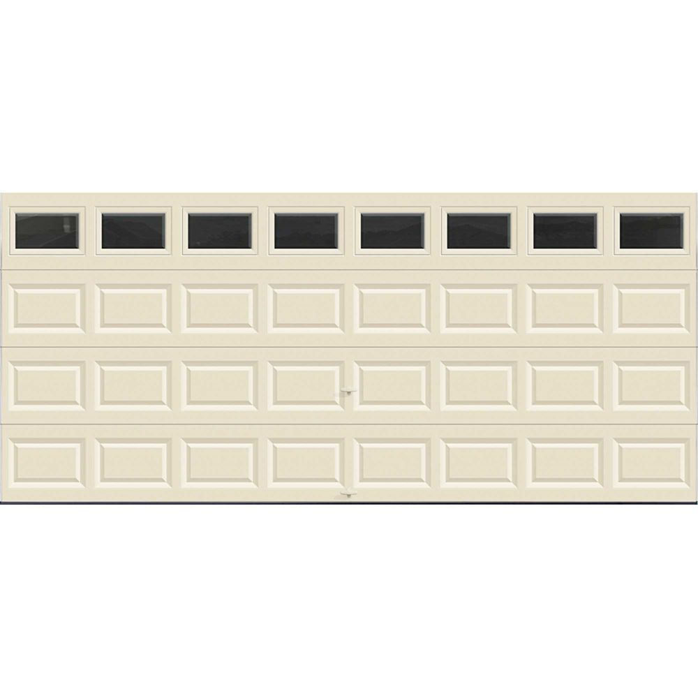 Value Series 16 ft. x 7 ft. Non-Insulated Almond Garage Door with Plain Windows