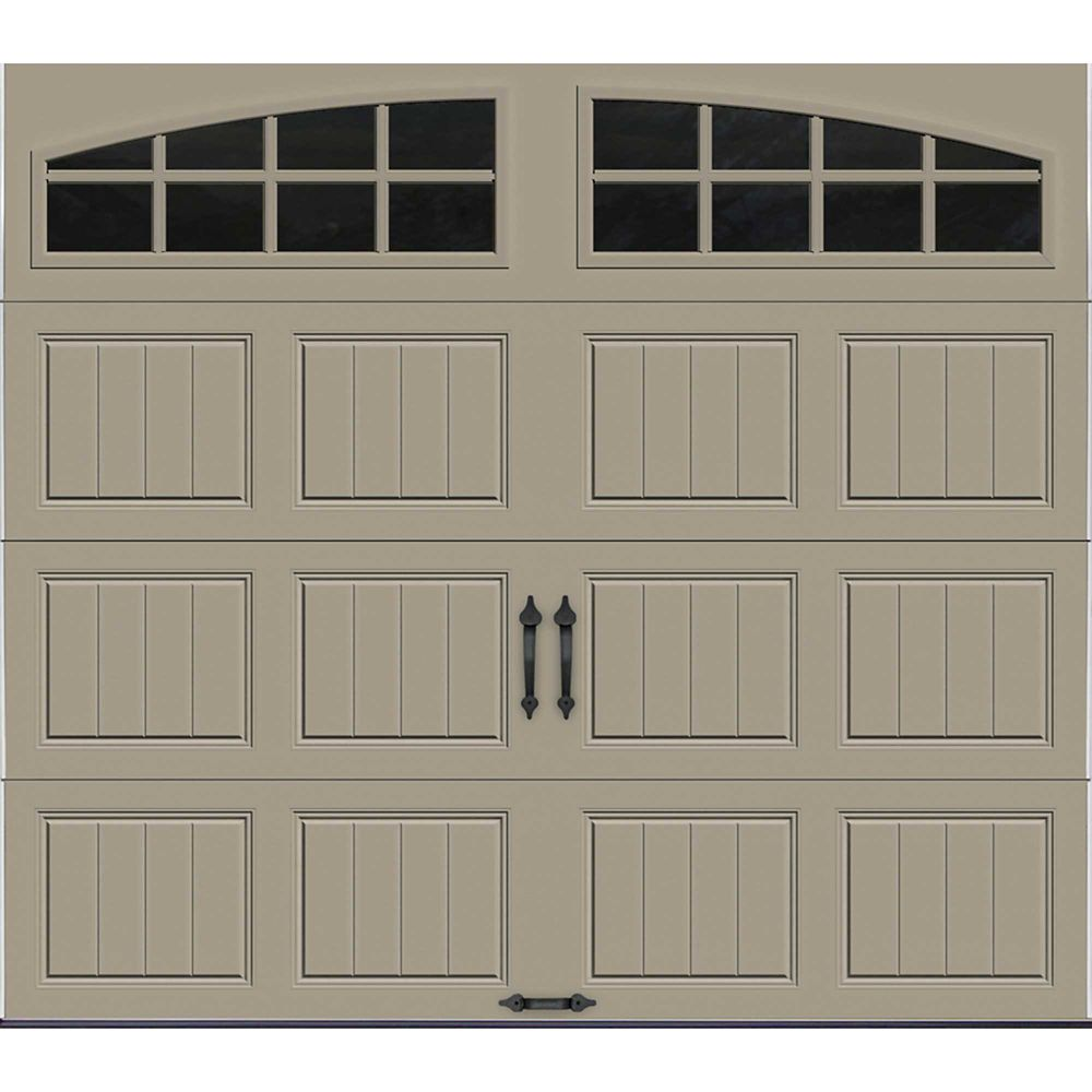 Gallery Collection 8 ft. x 7 ft. Intellicore Insulated Sandstone Garage Door with Arch Window