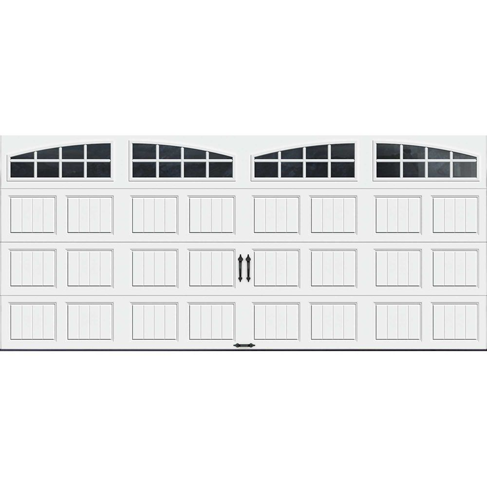 Gallery Collection 16 ft. x 7 ft. Intellicore Insulated White Garage Door with Arch Window