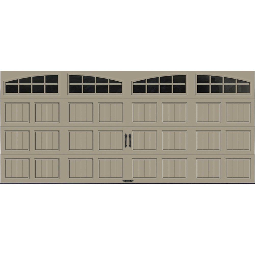 Gallery Collection 16 ft. x 7 ft. Intellicore Insulated Sandstone Garage Door with Arch Window