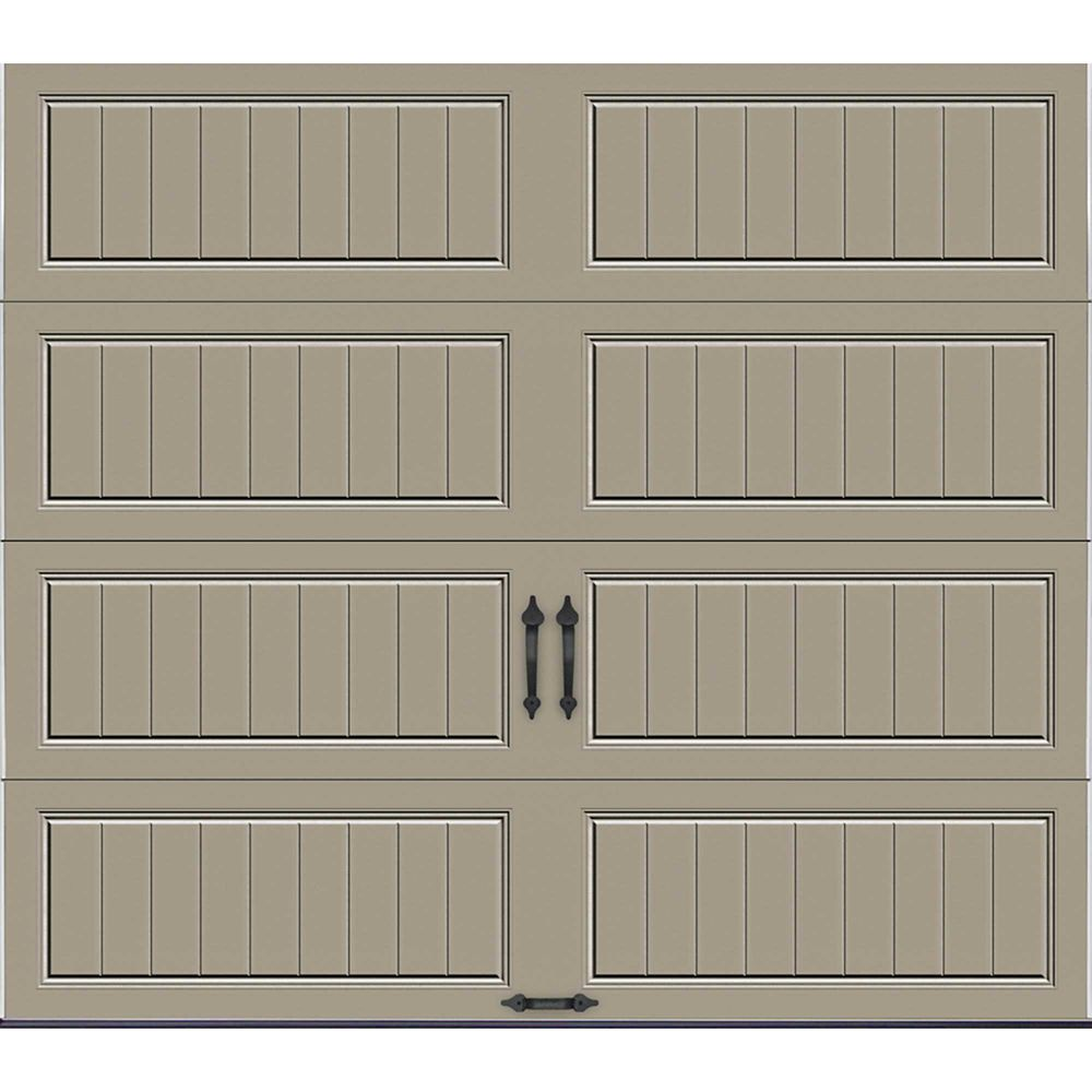 Gallery Collection 8 ft. x 7 ft. 18.4 R-Value Intellicore Insulated Solid Sandstone Garage Door