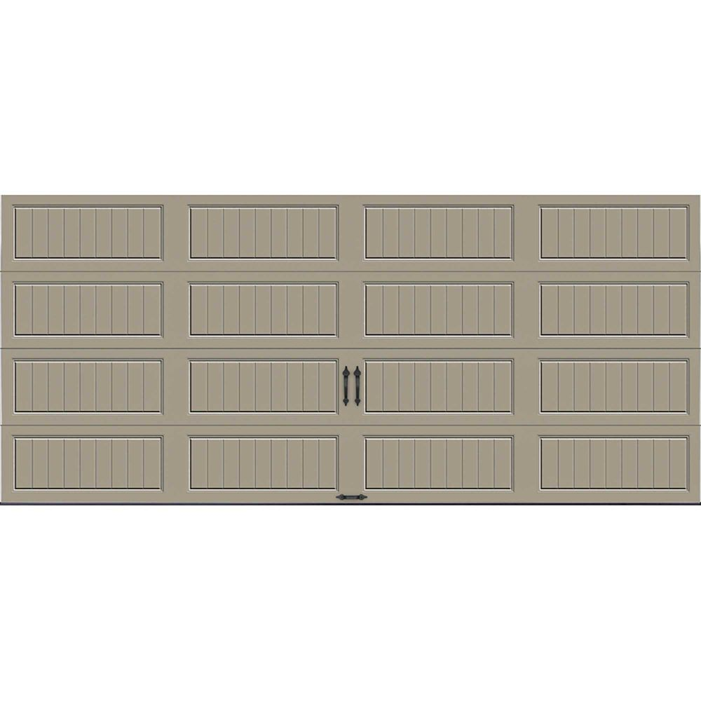 Gallery Collection 16 ft. x 7 ft. 18.4 R-Value Intellicore Insulated Solid Sandstone Garage Door