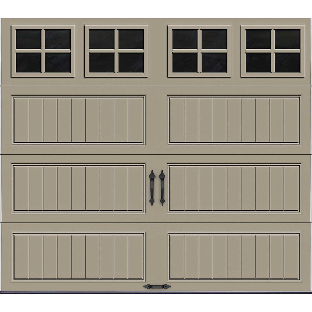 Gallery Collection 8 ft. x 7 ft. Intellicore Insulated Sandstone Garage Door with SQ22 Window