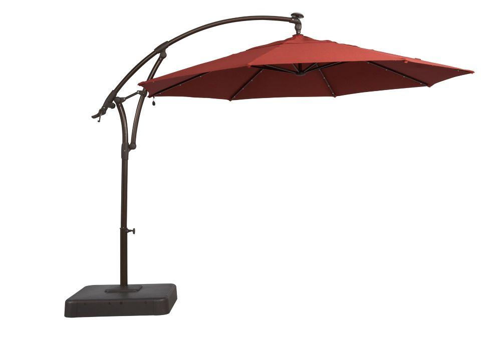 Solar Offset Patio Umbrella In Red