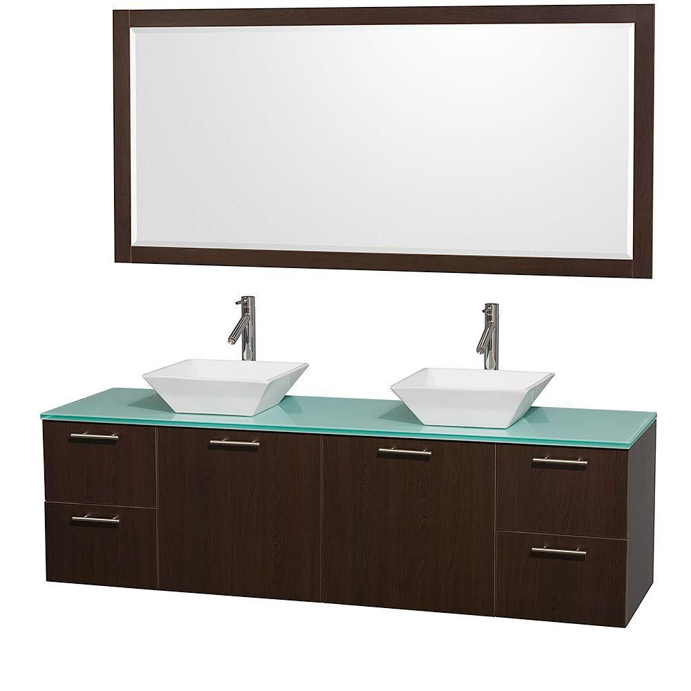 Amare 72-inch W Double Vanity in Espresso with Glass Top in Aqua and Porcelain Sinks