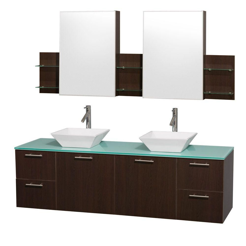 Amare 72-inch W Double Vanity in Espresso with Glass Top in Aqua and White Porcelain Sinks