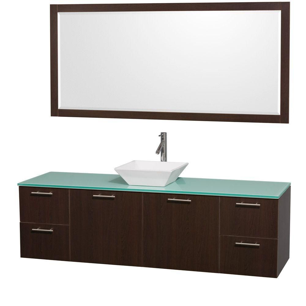 Amare 72-inch W Vanity in Espresso with Glass Top in Aqua and White Porcelain Sink
