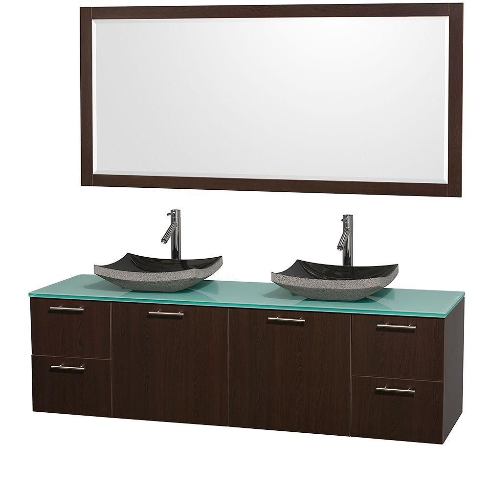 Amare 72-inch W Double Vanity in Espresso with Glass Top in Aqua and Black Granite Sinks