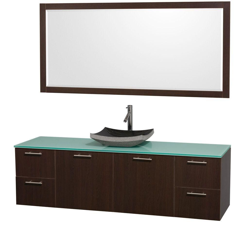 Wyndham Collection Amare 72-inch W 4-Drawer 2-Door Wall Mounted Vanity in Brown With Top in Green With Mirror