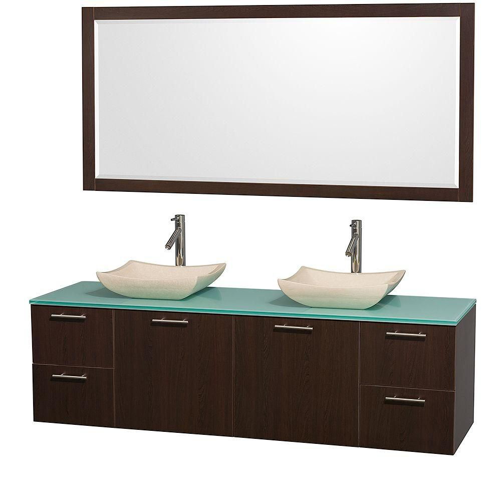 Amare 72-inch W Double Vanity in Espresso with Glass Top in Aqua and Marble Sinks