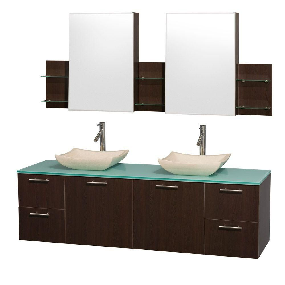 Amare 72-inch W Double Vanity in Espresso with Glass Top in Aqua and Ivory Marble Sinks