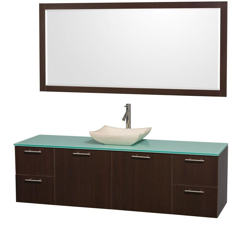 Amare 72-inch W Vanity in Espresso with Glass Top in Aqua and Ivory Marble Sink