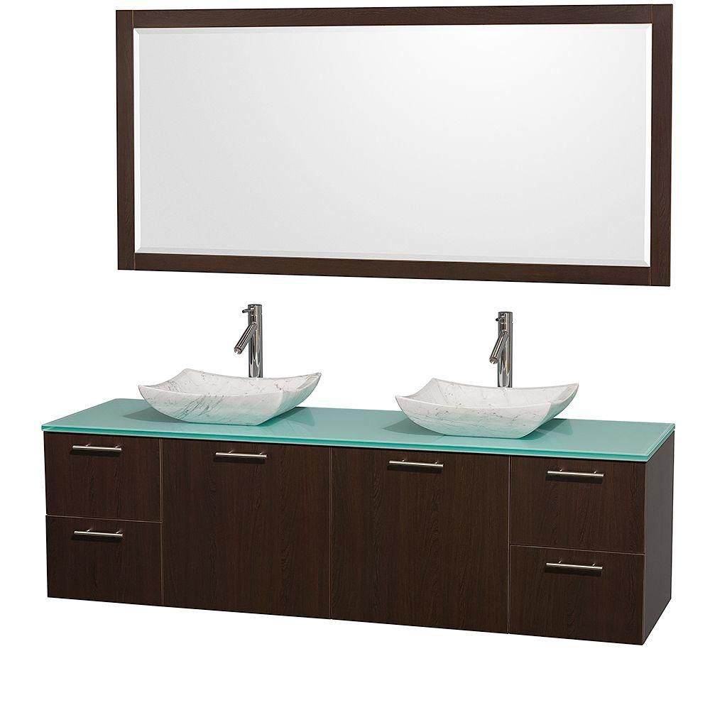 Amare 72-inch W Double Vanity in Espresso with Glass Top in Aqua and Carrara Marble Sinks