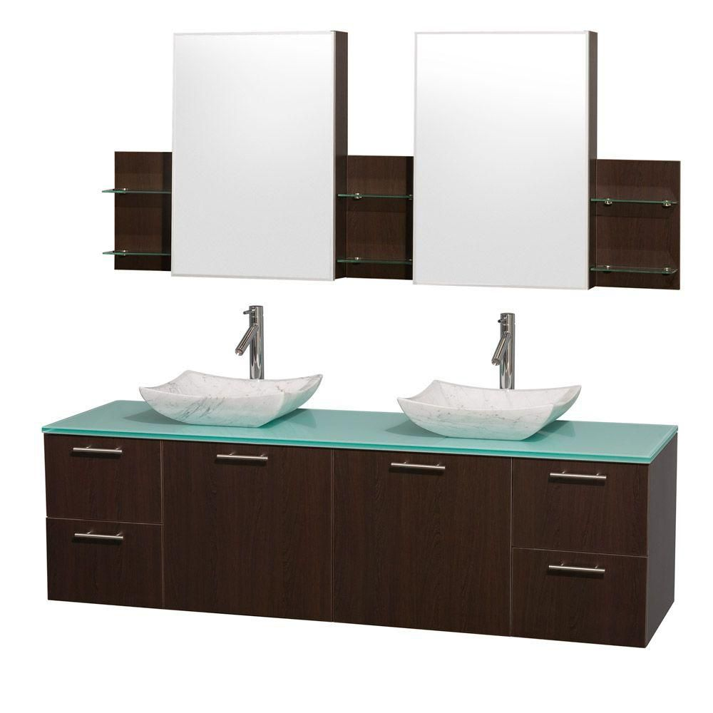 Wyndham Collection Amare 72-inch W 4-Drawer 2-Door Wall Mounted Vanity in Brown With Top in Green, Double Basins