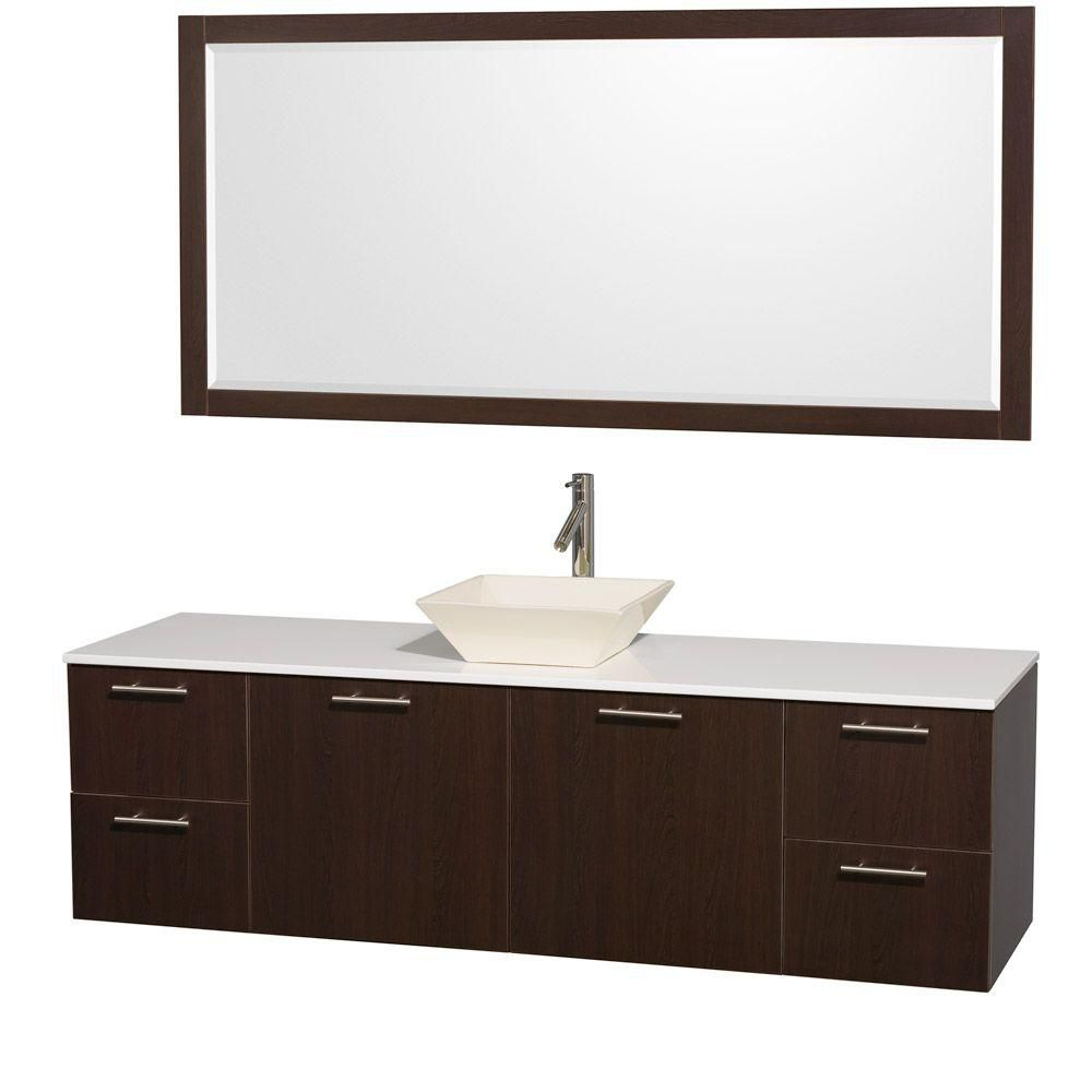 Wyndham Collection Amare 72-inch W 4-Drawer 2-Door Wall Mounted Vanity in Brown With Artificial Stone Top in White