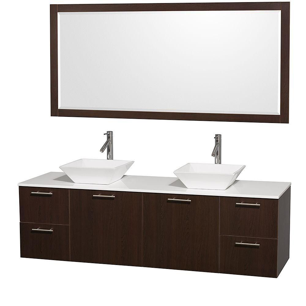 Amare 72-inch W Double Vanity in Espresso with Stone Top in White and Porcelain Sinks