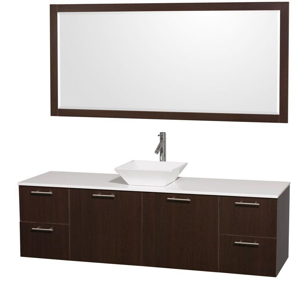 Amare 72-inch W Vanity in Espresso with Stone Top in White and White Porcelain Sink
