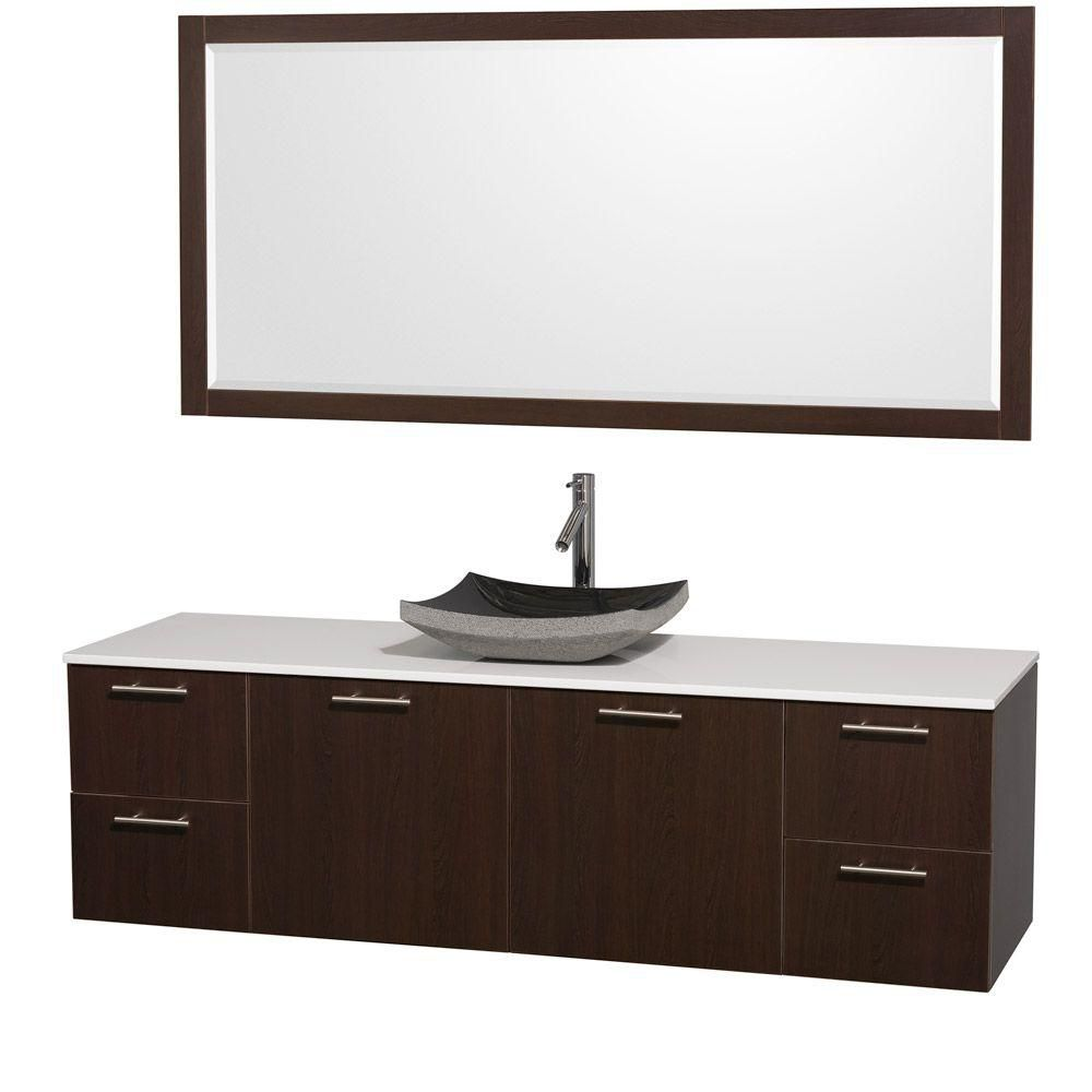 Amare 72-inch W Vanity in Espresso with Stone Top in White and Black Granite Sink