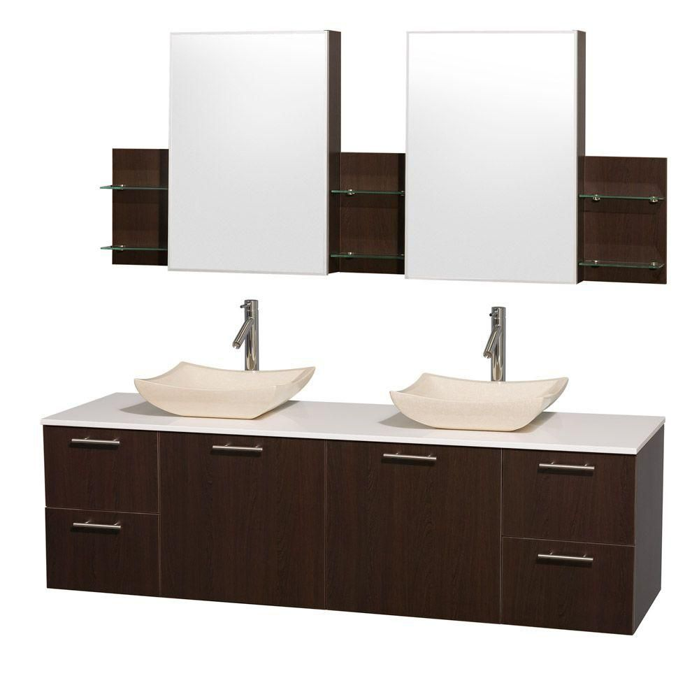 Amare 72-inch W Double Vanity in Espresso with Stone Top in White and Ivory Marble Sinks