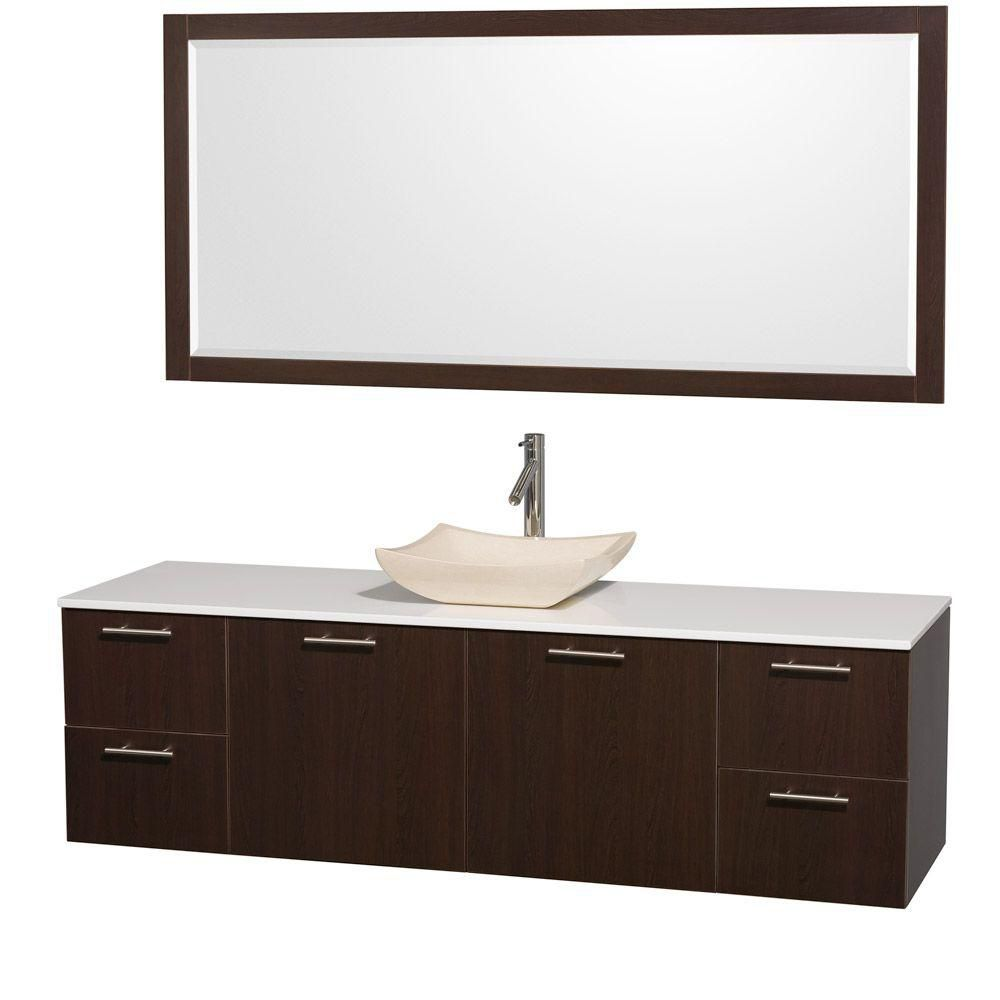 Amare 72-inch W 4-Drawer 2-Door Wall Mounted Vanity in Brown With Artificial Stone Top in White