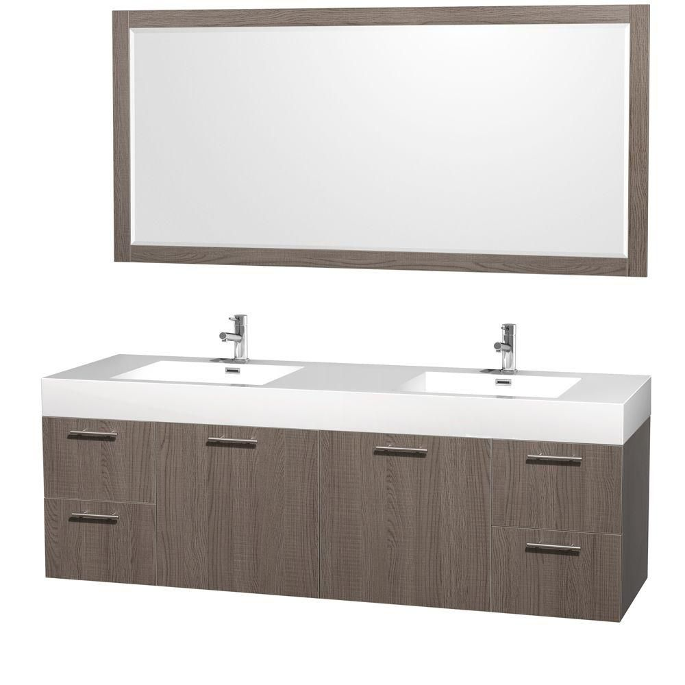 Wyndham Collection Amare 72-inch Double Vanity in Grey Oak with Acrylic-Resin Vanity Top in White and Integrated Sink