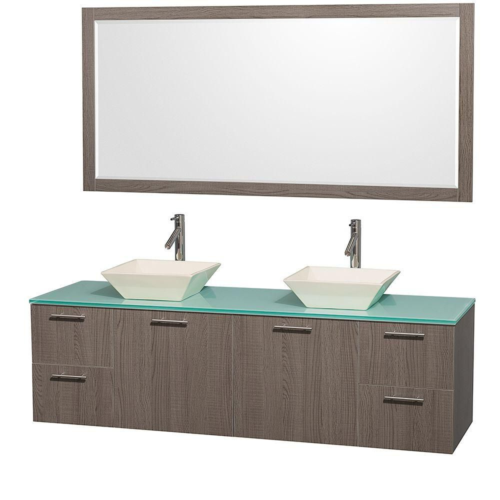 Amare 72-inch W Double Vanity in Grey Oak with Glass Top in Aqua and Porcelain Sinks