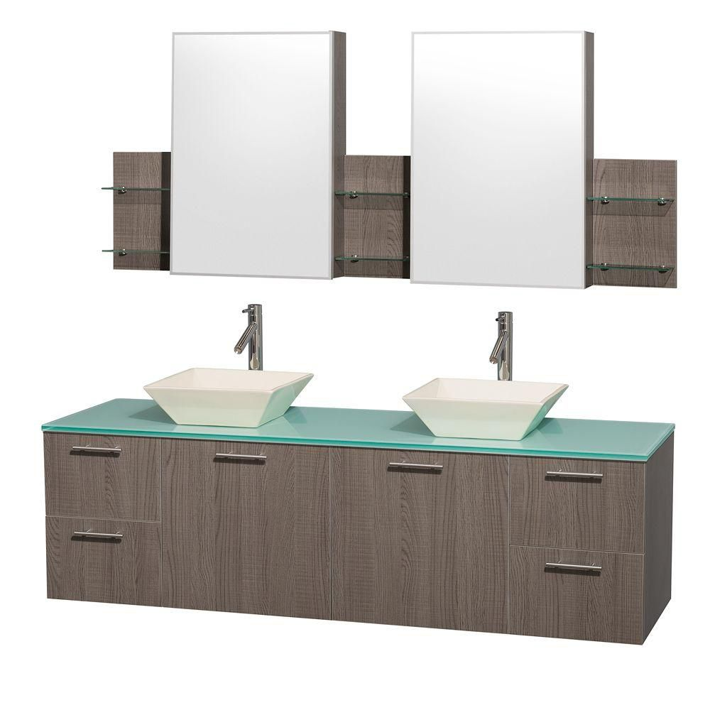 Amare 72-inch W Double Vanity in Grey Oak with Glass Top in Aqua and Bone Porcelain Sinks