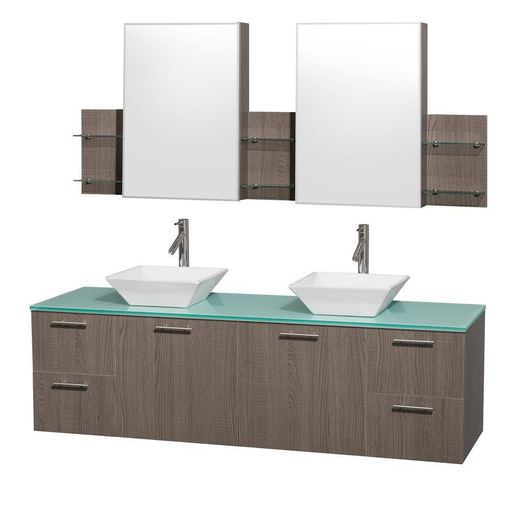 Amare 72-inch W Double Vanity in Grey Oak with Glass Top in Aqua and White Porcelain Sinks