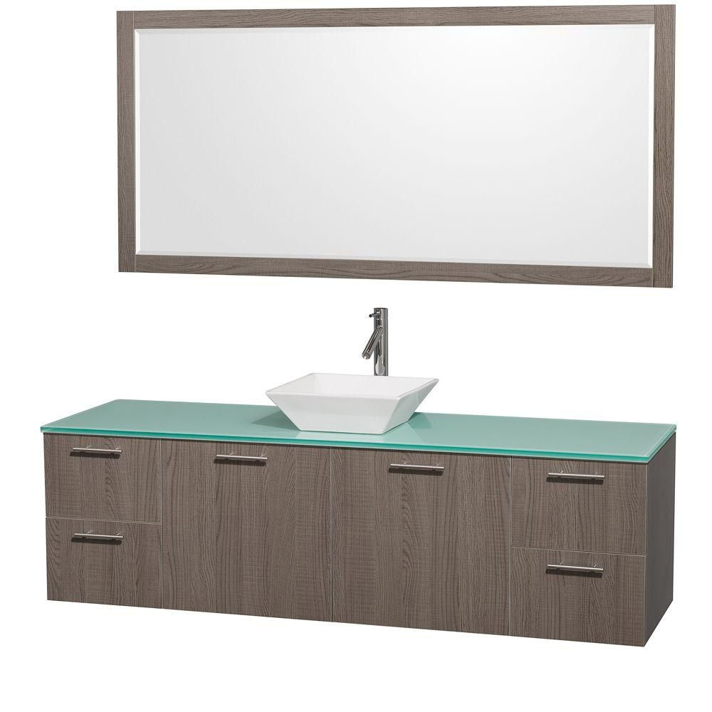 Amare 72-inch W Vanity in Grey Oak with Glass Top in Aqua and White Porcelain Sink