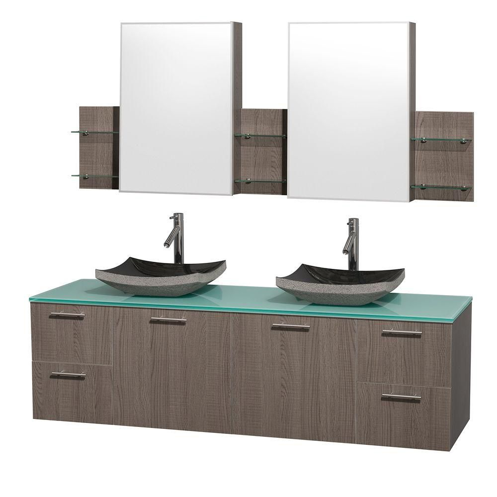 Amare 72-inch W Double Vanity in Grey Oak with Glass Top in Aqua and Black Granite Sinks