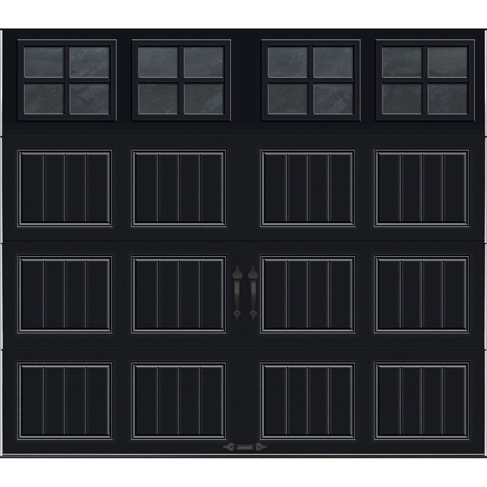 Gallery Collection 8 ft. x 7 ft. Intellicore Insulated Black Garage Door with SQ22 Window