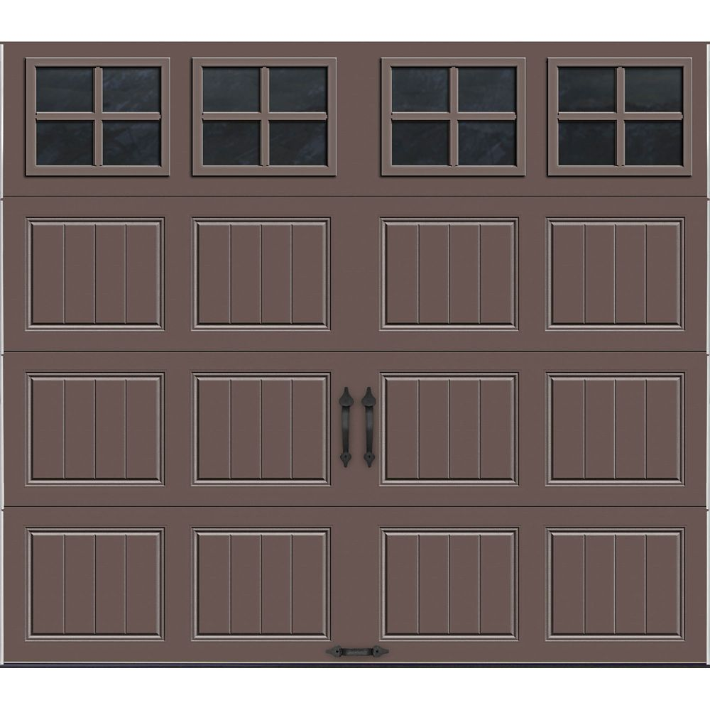 Gallery Collection 8 ft. x 7 ft. Intellicore Insulated Bronze Garage Door with SQ22 Window