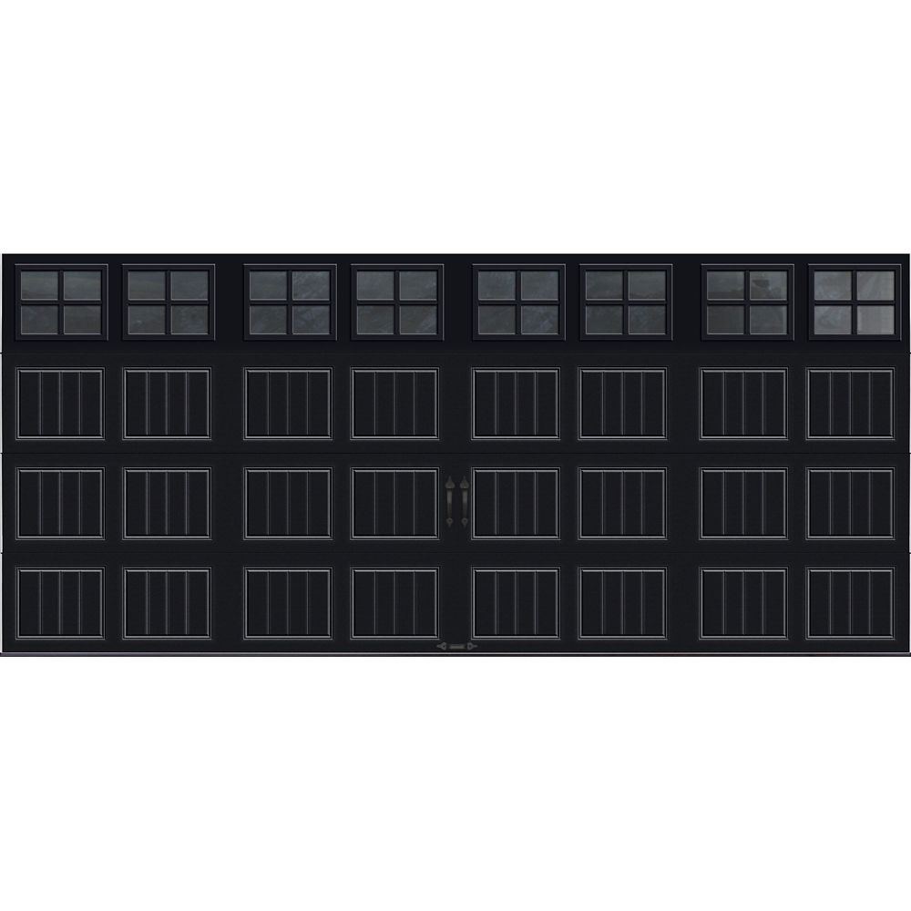 Gallery Collection 16 ft. x 7 ft. Intellicore Insulated Black Garage Door with SQ22 Window