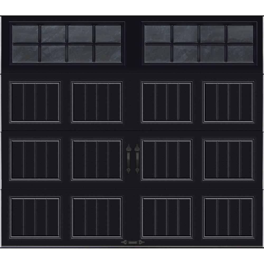 Gallery Collection 8 ft. x 7 ft. Intellicore Insulated Black Garage Door with SQ24 Window