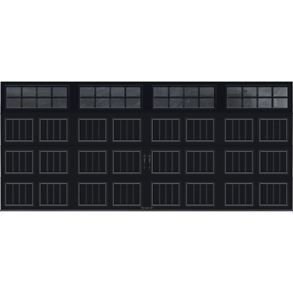 Gallery Collection 16 ft. x 7 ft. Intellicore Insulated Black Garage Door with SQ24 Window