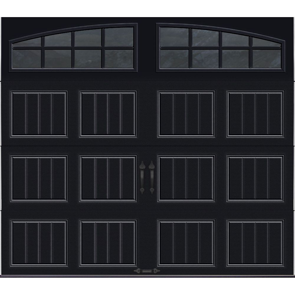Gallery Collection 8 ft. x 7 ft. Intellicore Insulated Black Garage Door with Arch Window