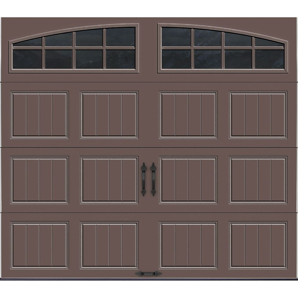 Gallery Collection 8 ft. x 7 ft. Intellicore Insulated Bronze Garage Door with Arch Window