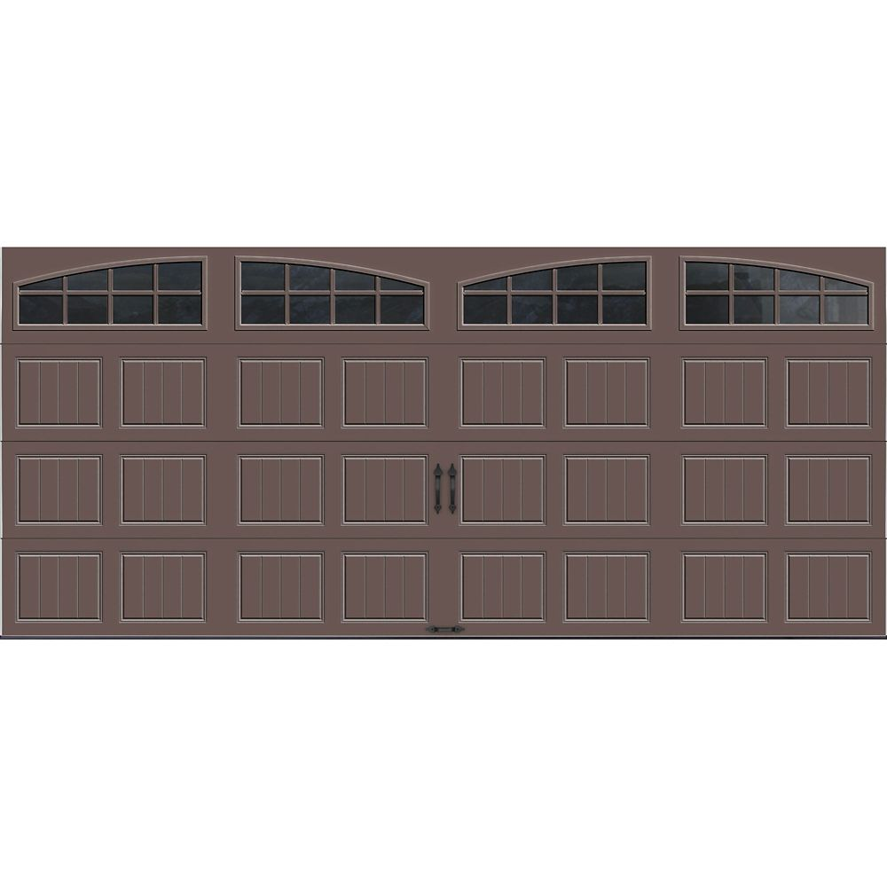 Gallery Collection 16 ft. x 7 ft. Intellicore Insulated Bronze Garage Door with Arch Window