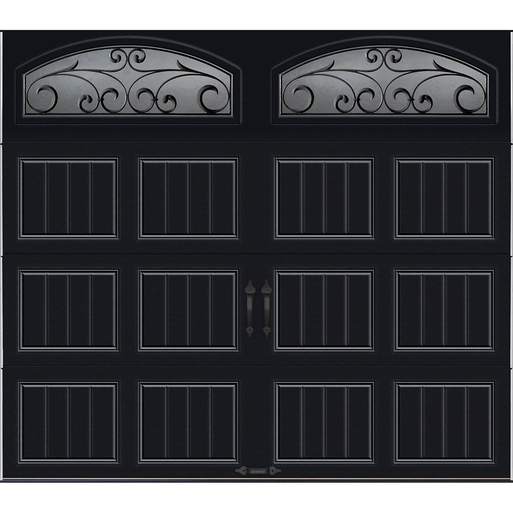 Gallery Collection 8 ft. x 7 ft. Intellicore Insulated Black Garage Door with Wrought Iron Window