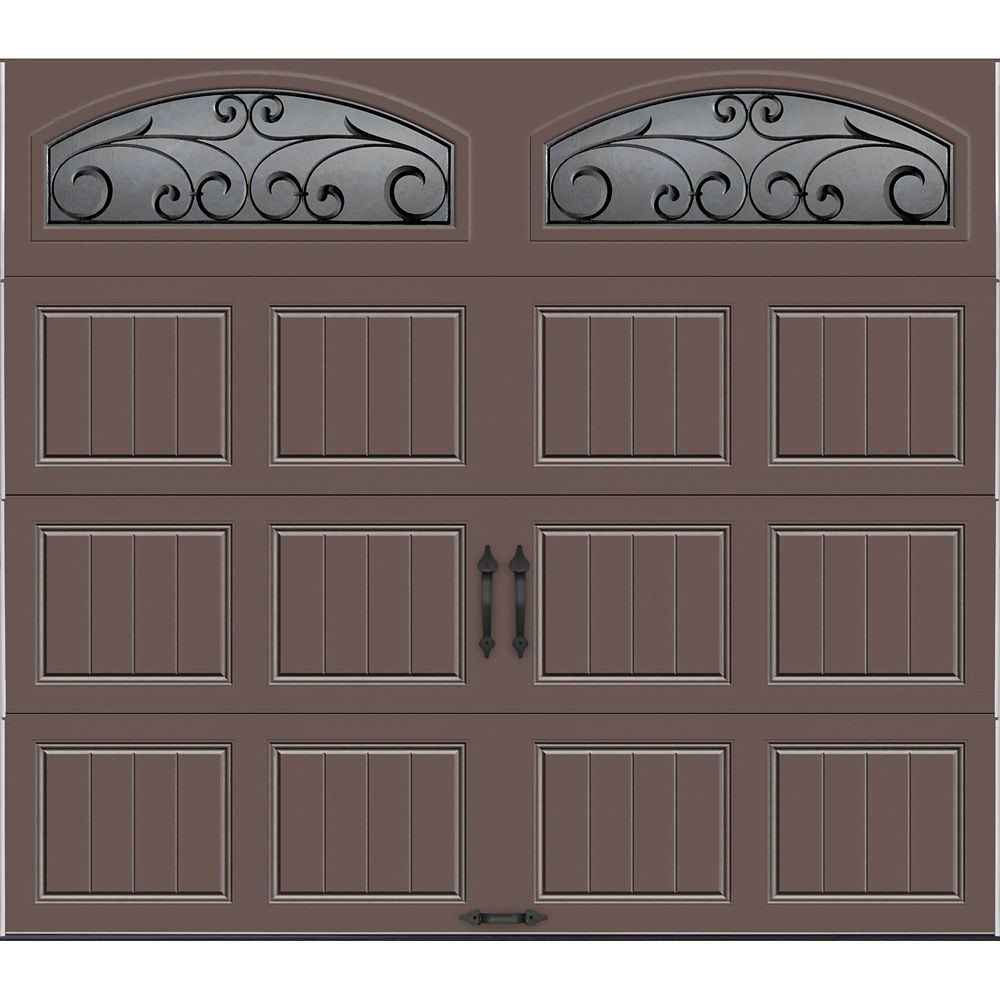 Gallery Collection 8 ft. x 7 ft. Intellicore Insulated Bronze Garage Door with Wrought Iron Windo...