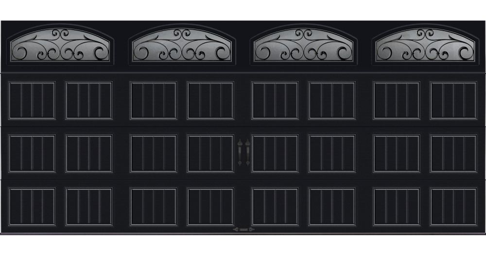 Gallery Collection 16 ft. x 7 ft. Intellicore Insulated Black Garage Door with Wrought Iron Windo...