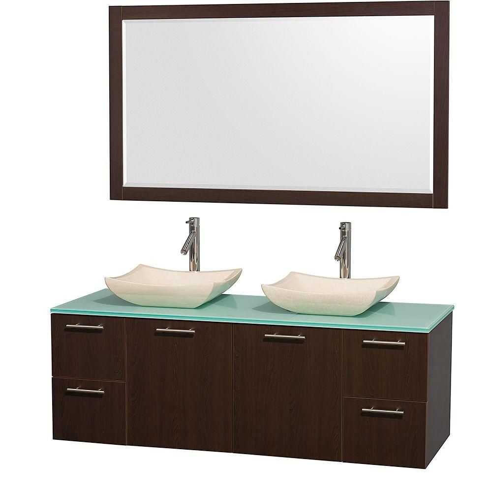 Amare 60-inch W Double Vanity in Espresso with Glass Top in Aqua and Marble Sinks