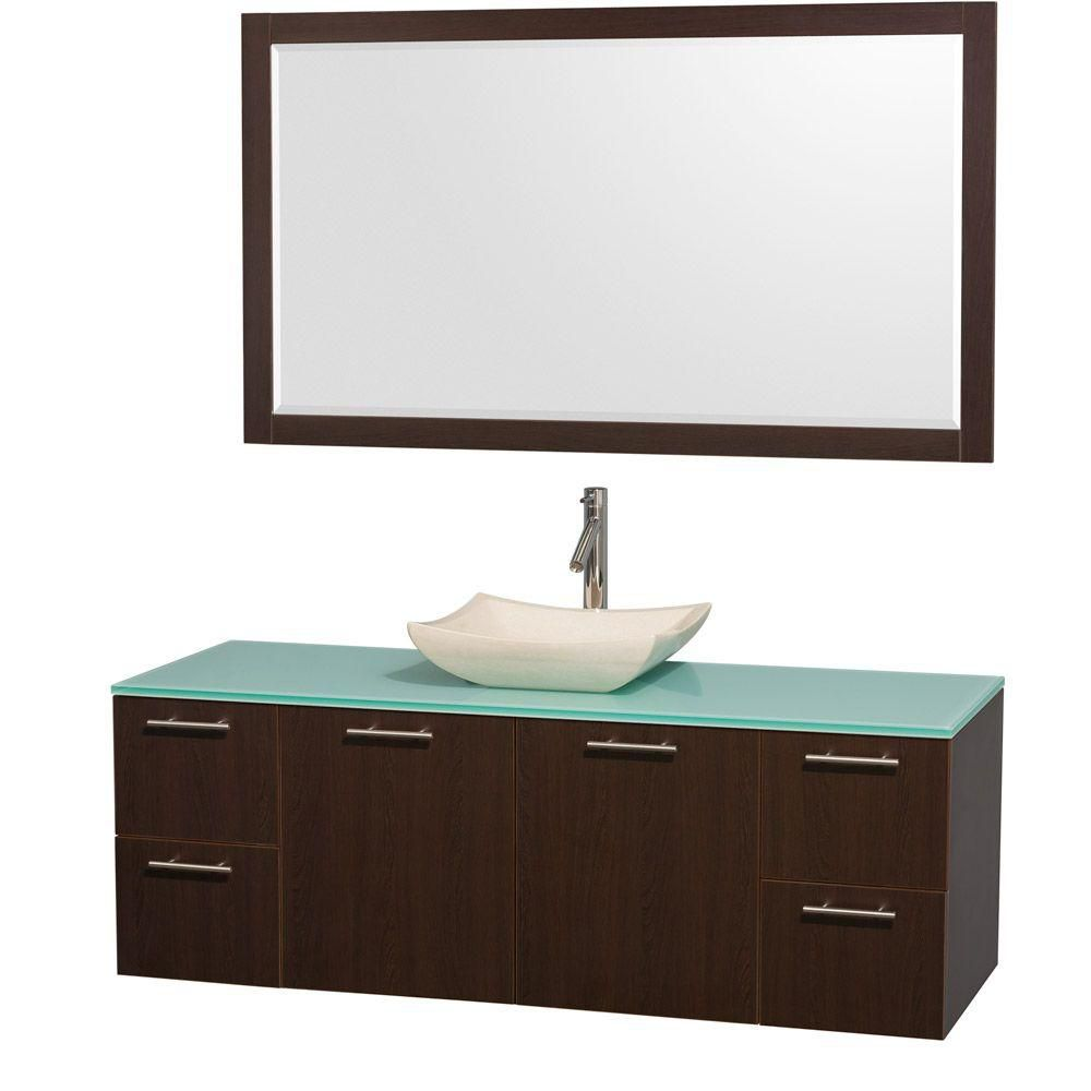 Amare 60-inch W Vanity in Espresso with Glass Top in Aqua and Ivory Marble Sink