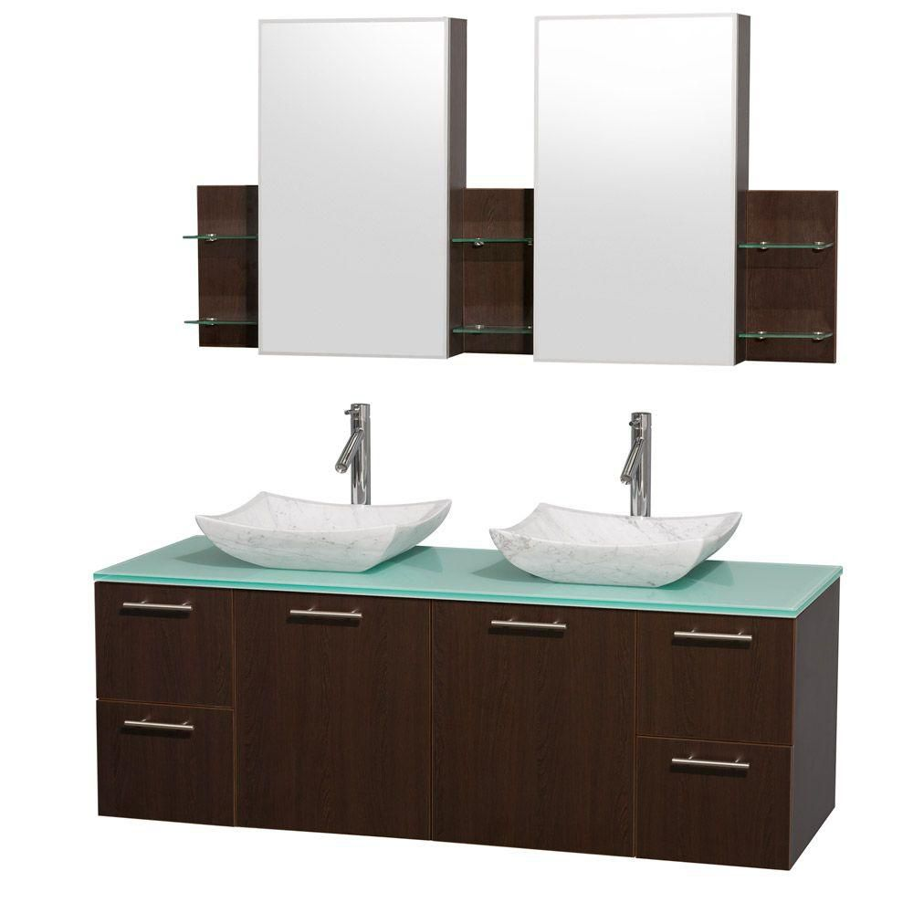 Amare 60-inch W Double Vanity in Espresso with Glass Top in Aqua and Carrara Marble Sinks