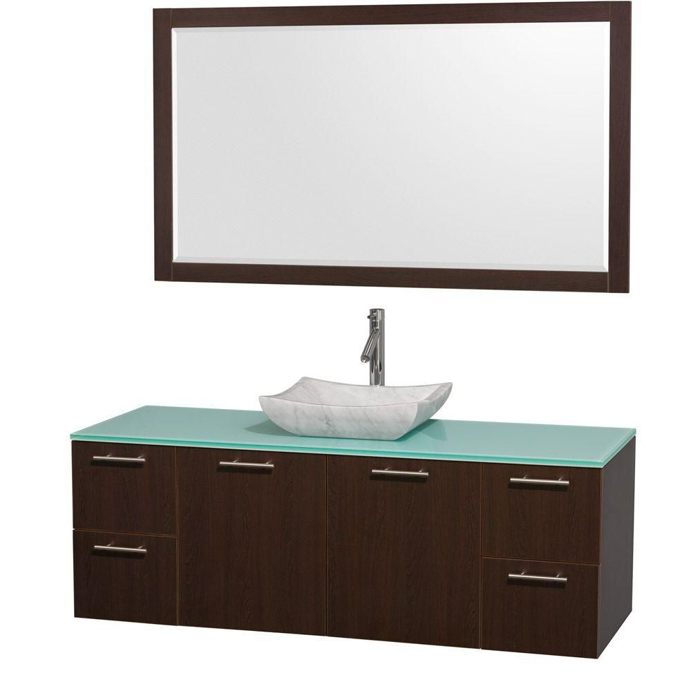 Amare 60-inch W Vanity in Espresso with Glass Top in Aqua and Carrara Marble Sink