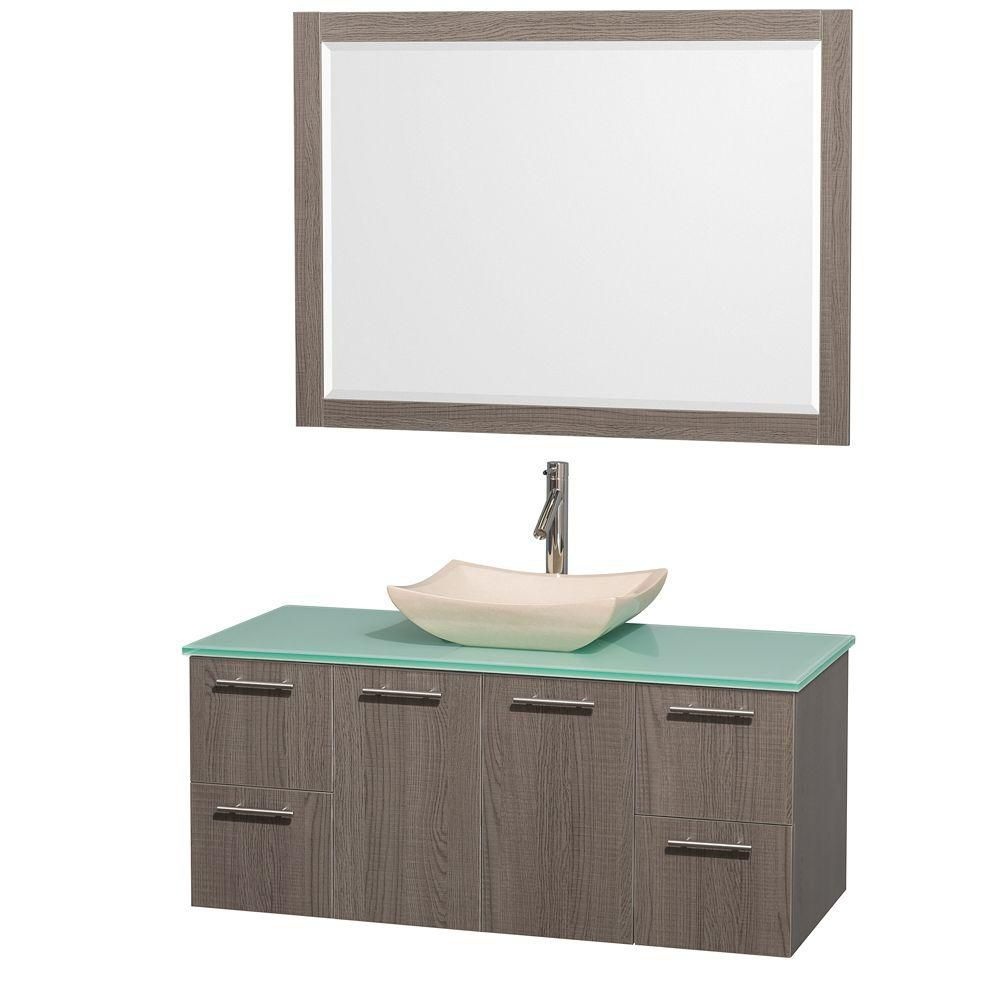Amare 48-inch W Vanity in Grey Oak with Glass Top in Aqua and Ivory Marble Sink