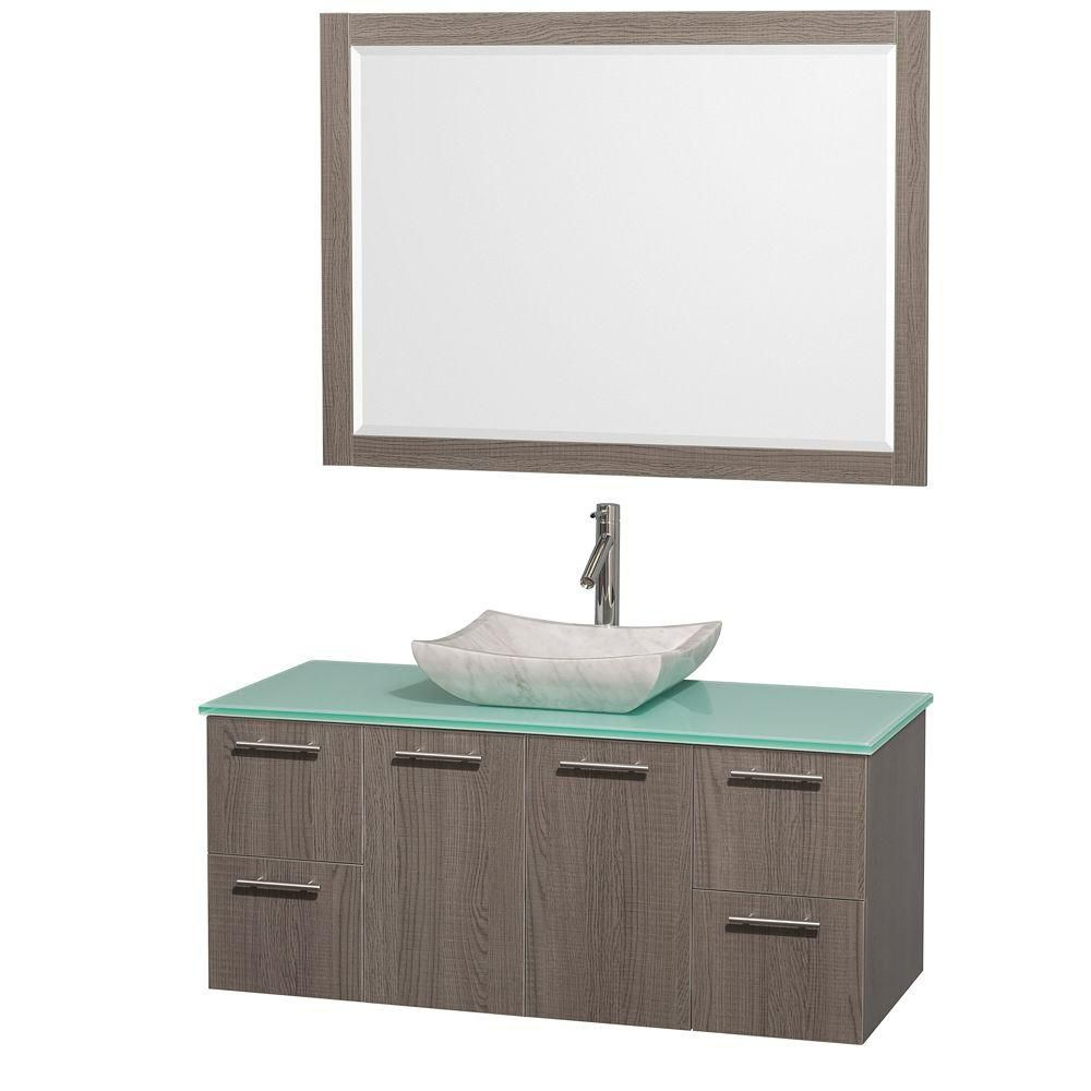 Amare 48-inch W Vanity in Grey Oak with Glass Top in Aqua and Carrara Marble Sink