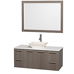 Wyndham Collection Amare 48-inch W 2-Drawer 2-Door Wall Mounted Vanity in Grey With Artificial Stone Top in White